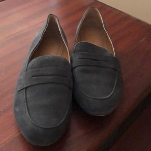 J. Crew Gray Suede Penny Loafers